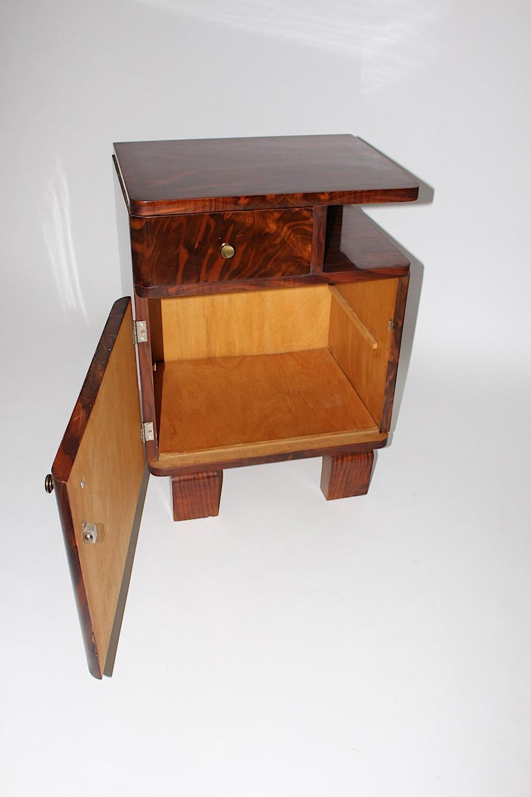 Mid-20th Century Art Deco Vintage Rosewood Brass Chest or Nightstand, Austria, 1930s For Sale