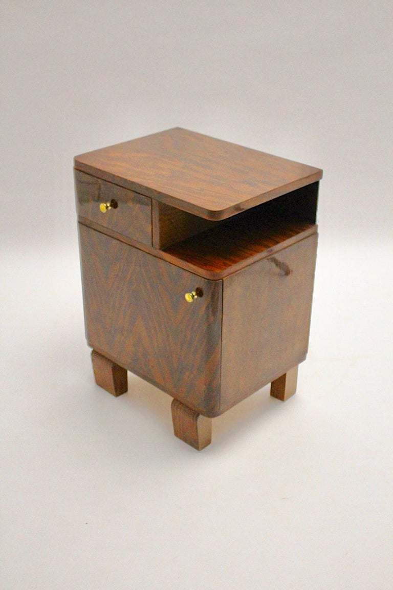 Art Deco Vintage Rosewood Brass Chest or Nightstand, Austria, 1930s For Sale 1