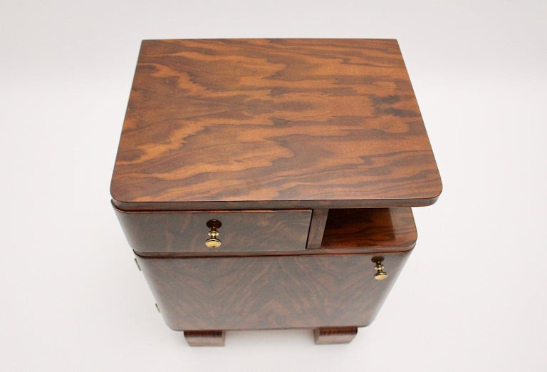Art Deco Vintage Rosewood Brass Chest or Nightstand, Austria, 1930s For Sale 2