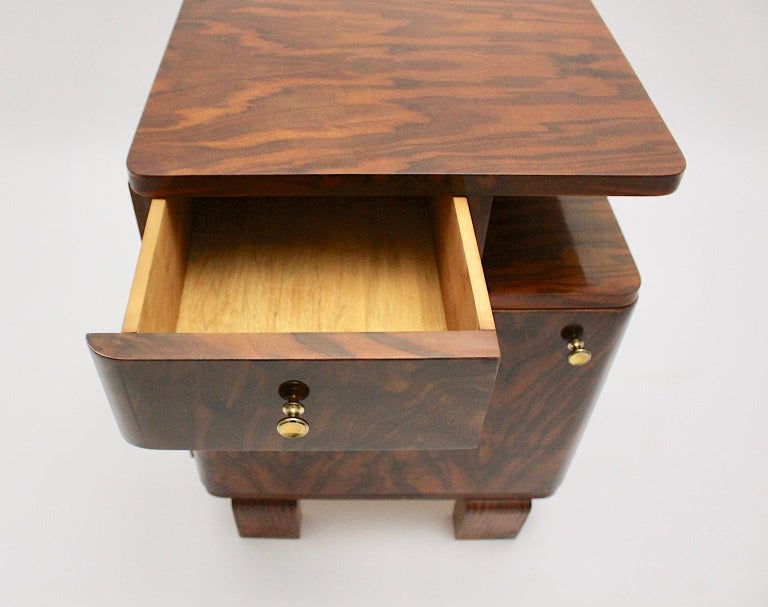Art Deco Vintage Rosewood Brass Chest or Nightstand, Austria, 1930s For Sale 3