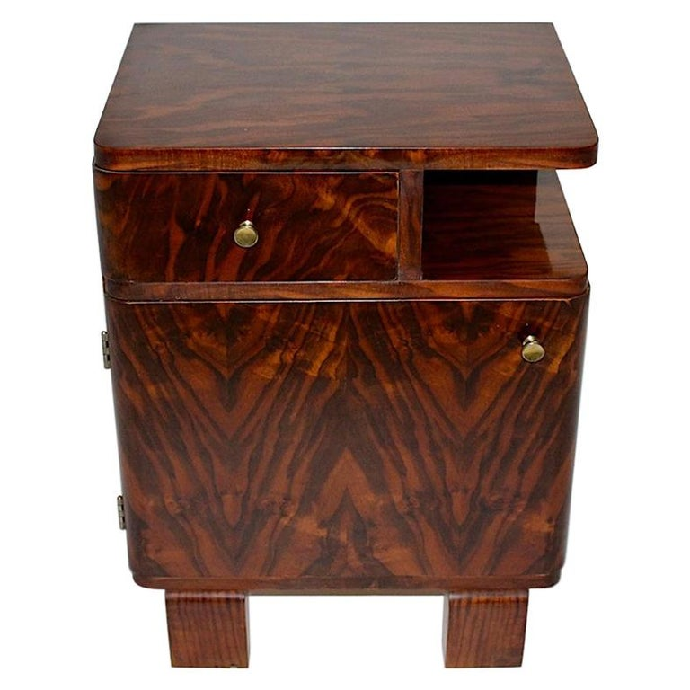 Art Deco Vintage Rosewood Brass Chest or Nightstand, Austria, 1930s For Sale