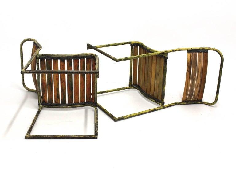 Beech Art Deco Vintage Steel Chairs RP6 by Bruno Pollak 1931-1932 PEL Ltd, England For Sale