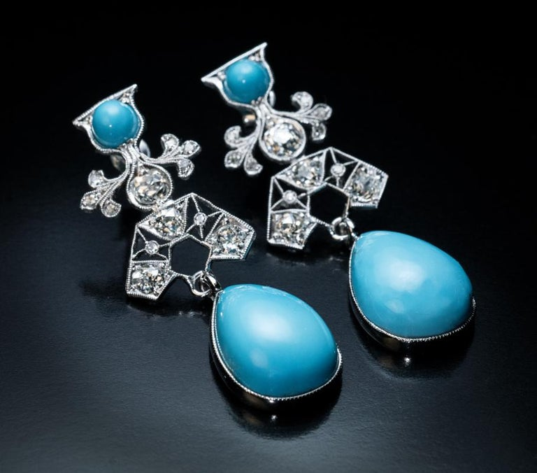 Art Deco Vintage Turquoise Diamond Platinum Earrings In Excellent Condition For Sale In Chicago, IL