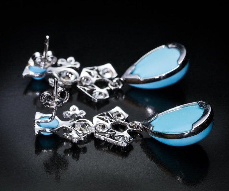 Women's Art Deco Vintage Turquoise Diamond Platinum Earrings For Sale