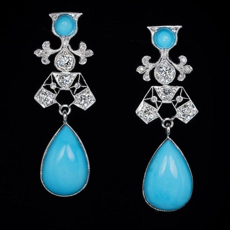 Art Deco Vintage Turquoise Diamond Platinum Earrings For Sale 1