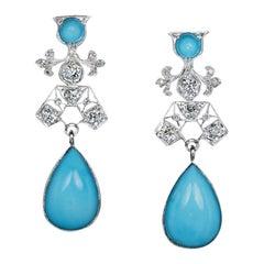 Art Deco Vintage Turquoise Diamond Platinum Earrings