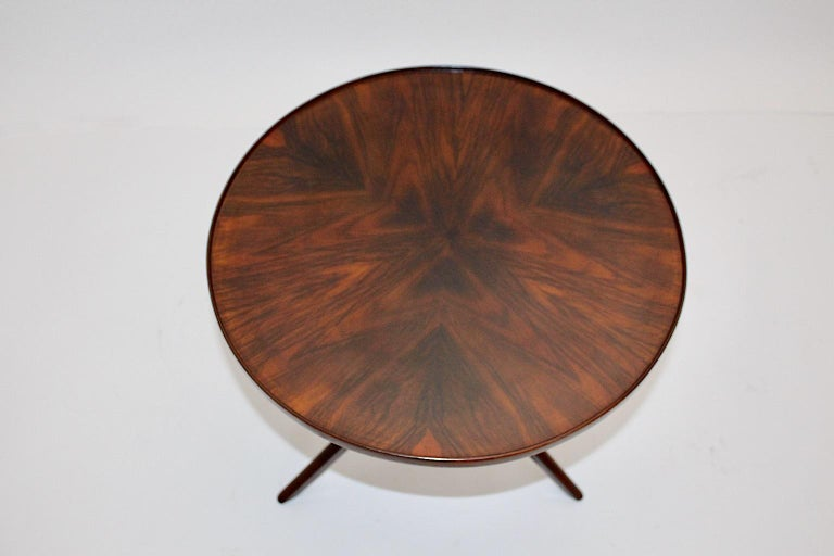 Art Deco Vintage Walnut Round Side Table Attributed Josef Frank, 1930s, Vienna For Sale 5