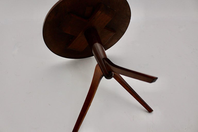 Art Deco Vintage Walnut Round Side Table Attributed Josef Frank, 1930s, Vienna For Sale 8