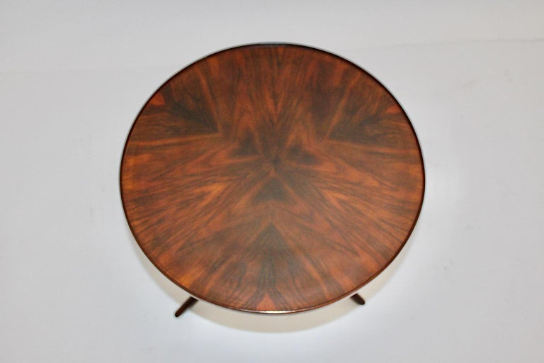 Art Deco Vintage Walnut Round Side Table Attributed Josef Frank, 1930s, Vienna For Sale 10