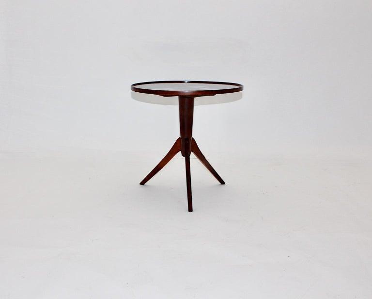 Austrian Art Deco Vintage Walnut Round Side Table Attributed Josef Frank, 1930s, Vienna For Sale
