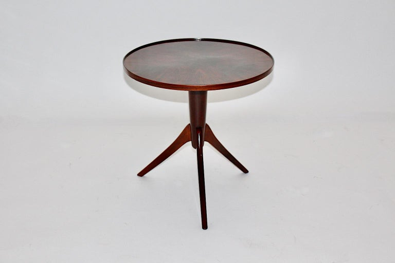 Mid-20th Century Art Deco Vintage Walnut Round Side Table Attributed Josef Frank, 1930s, Vienna For Sale