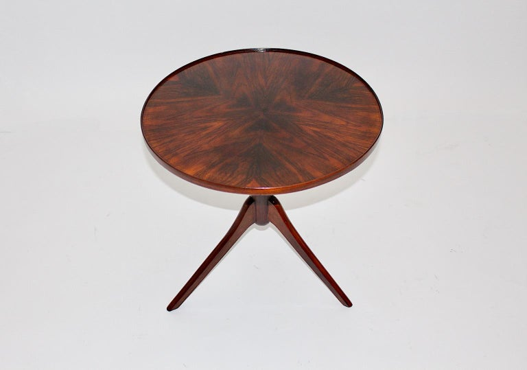 Art Deco Vintage Walnut Round Side Table Attributed Josef Frank, 1930s, Vienna For Sale 2
