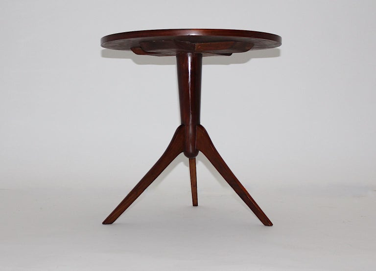 Art Deco Vintage Walnut Round Side Table Attributed Josef Frank, 1930s, Vienna For Sale 3