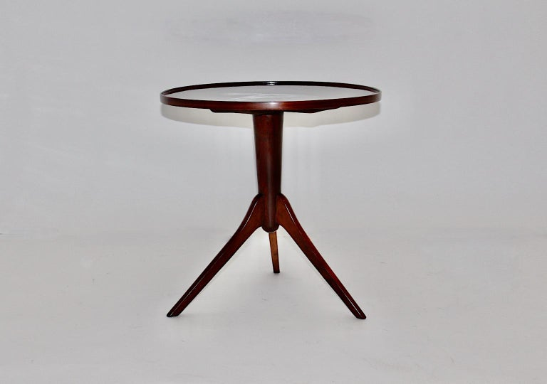 Art Deco Vintage Walnut Round Side Table Attributed Josef Frank, 1930s, Vienna For Sale 4