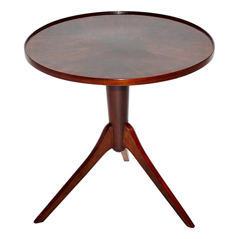 Art Deco Vintage Walnut Round Side Table Attributed Josef Frank, 1930s, Vienna For Sale