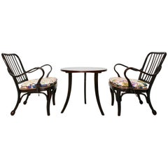Art Deco Vintage Wood Armchairs and Coffee Table by Josef Frank Vienna