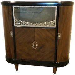 Art Deco Vitrine by L. Majorelle in Mahogany Bronze Crystal