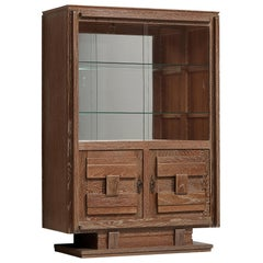 Art Deco Vitrine Cabinet in Cerused Oak