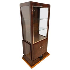 Art Deco Vitrine Showcase, Palisander/Maple, Three Sides Glas, France circa 1925