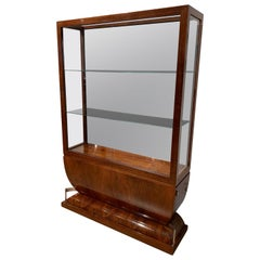 Art Deco Vitrine, Walnut Veneer, Three Sides Glassed, France, circa 1930