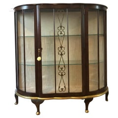 Art Deco Walnut Vitrine with Gold Accents