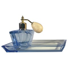 Art Deco Vogue Vintage Electric Blue Crystal Perfume Atomiser and Diagonal Tray