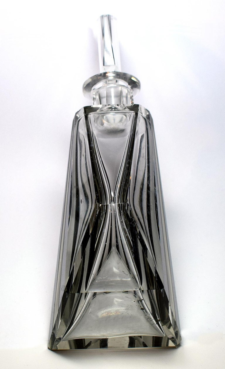 Czech Art Deco Wacky Shaped Glass Decanter For Sale