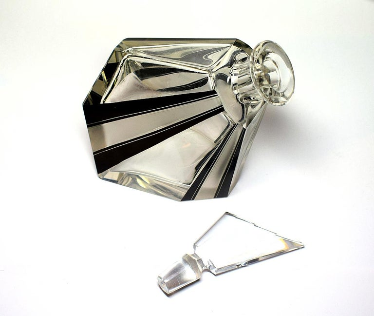 20th Century Art Deco Wacky Shaped Glass Decanter For Sale
