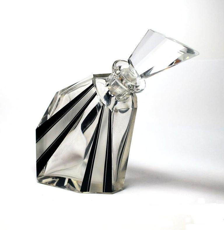 Enamel Art Deco Wacky Shaped Glass Decanter For Sale