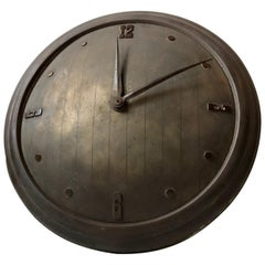 Art Deco Wall Clock in Patinated Brass, 1930s