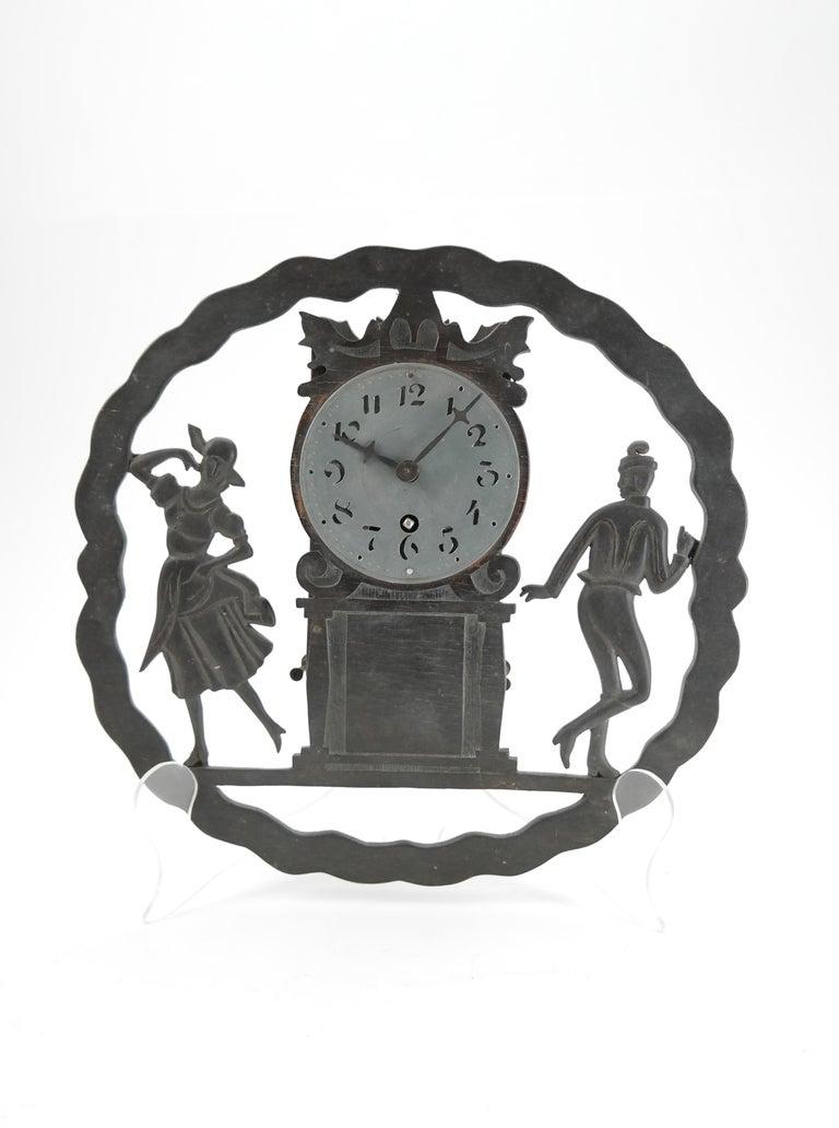 Art Decowall clock with pierced wooden ornament Karlstein M&Sohn clockwork.