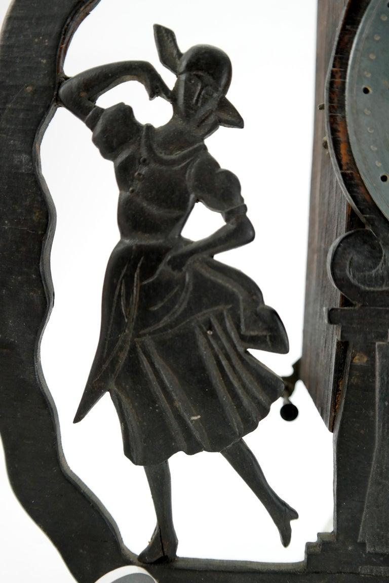 European Art Deco Wall Clock with Pierced Wooden Ornament, Karlstein M & Sohn Clockwork For Sale