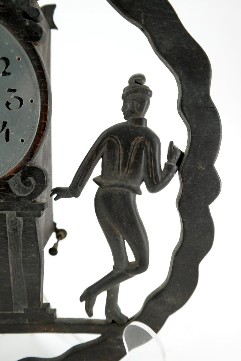 Art Deco Wall Clock with Pierced Wooden Ornament, Karlstein M & Sohn Clockwork In Good Condition For Sale In Budapest, HU