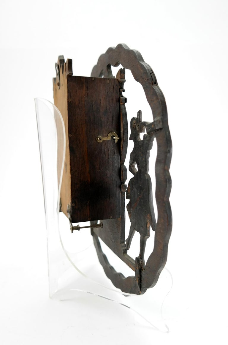 Early 20th Century Art Deco Wall Clock with Pierced Wooden Ornament, Karlstein M & Sohn Clockwork For Sale