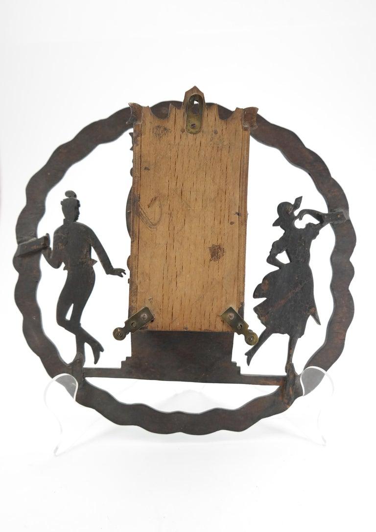 Brass Art Deco Wall Clock with Pierced Wooden Ornament, Karlstein M & Sohn Clockwork For Sale