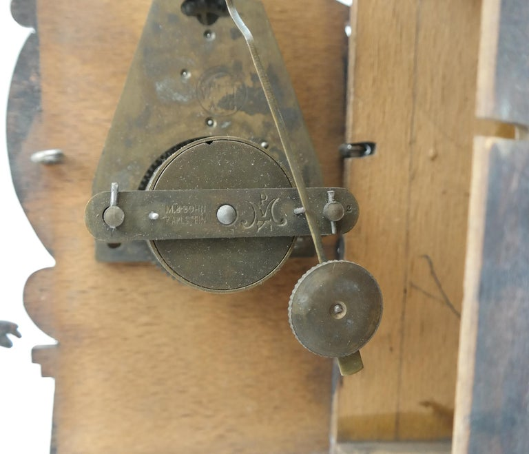 Art Deco Wall Clock with Pierced Wooden Ornament, Karlstein M & Sohn Clockwork For Sale 3