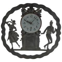 Art Deco Wall Clock with Pierced Wooden Ornament, Karlstein M & Sohn Clockwork