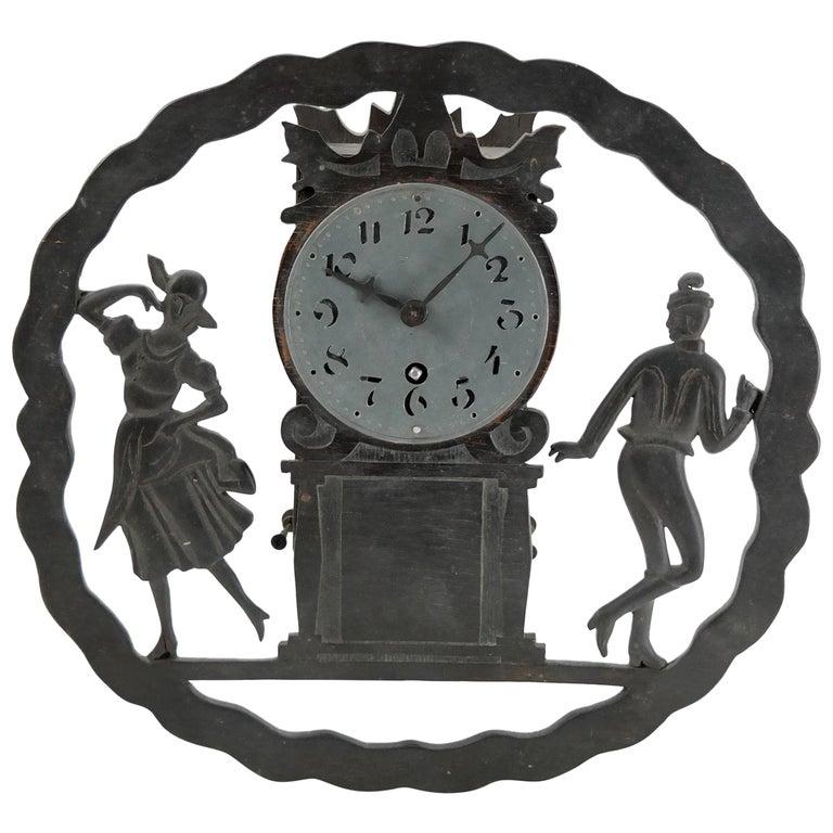 Art Deco Wall Clock with Pierced Wooden Ornament, Karlstein M & Sohn Clockwork For Sale