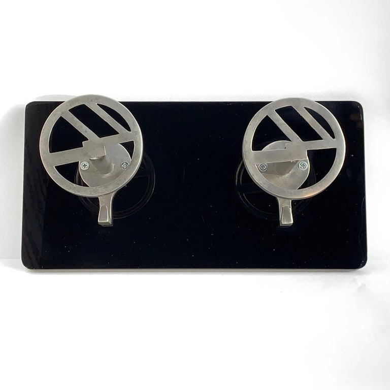 Art Deco Wall Coat Hooks Aluminium Mounted on Black Plexiglass, Italy, 1940s In Good Condition For Sale In Roma, IT