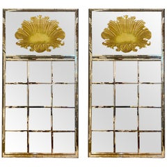 Art Deco Wall, Console or Floor Mirrors, a Pair, Carved Shell Distressed