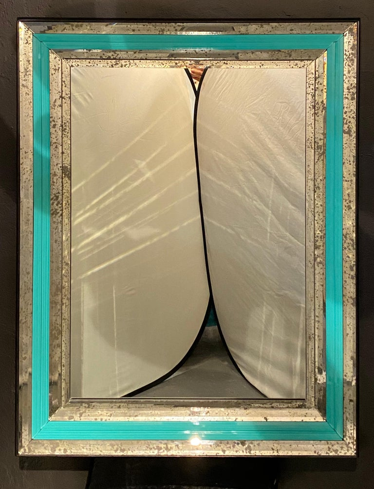 Art Deco Wall, Console or Pier Mirrors with Turquoise Beveled Frames, a Pair For Sale 5