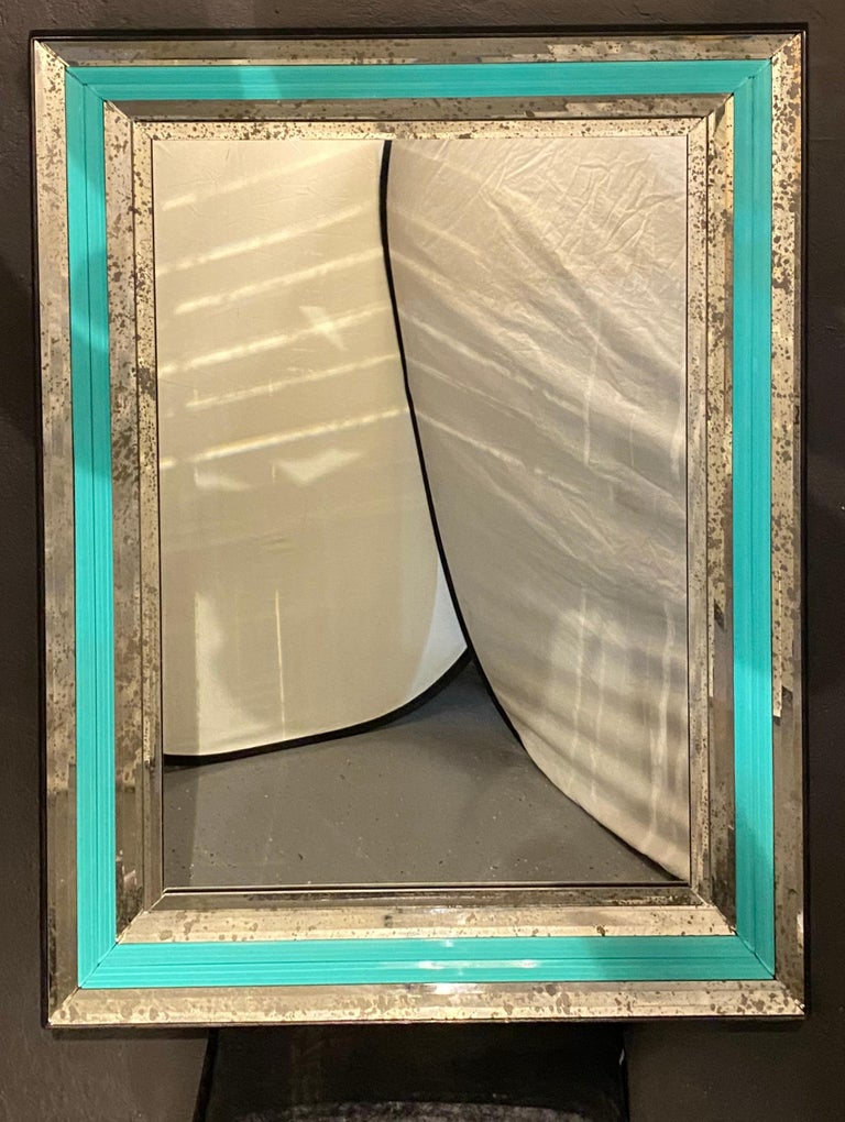 Art Deco Wall, Console or Pier Mirrors with Turquoise Beveled Frames, a Pair For Sale 7