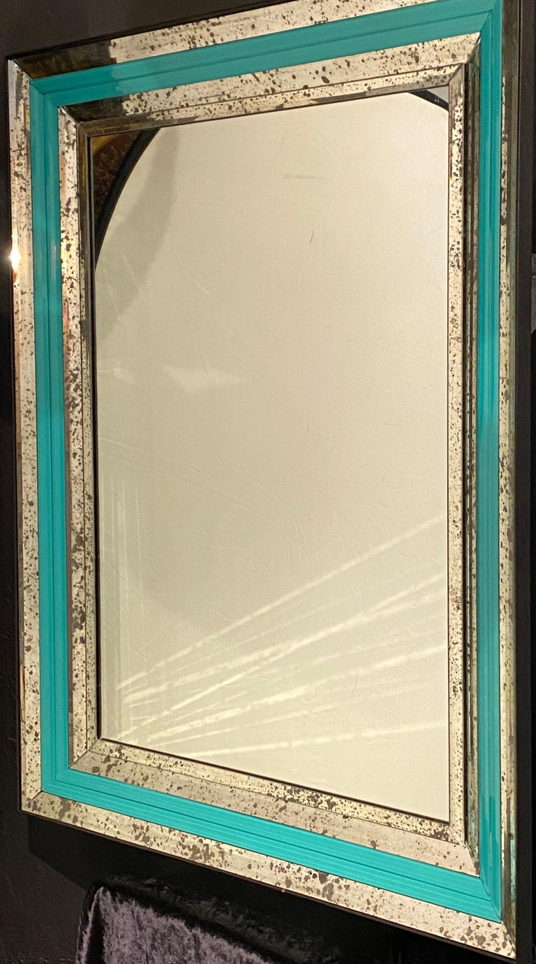 Art Deco Wall, Console or Pier Mirrors with Turquoise Beveled Frames, a Pair For Sale 8