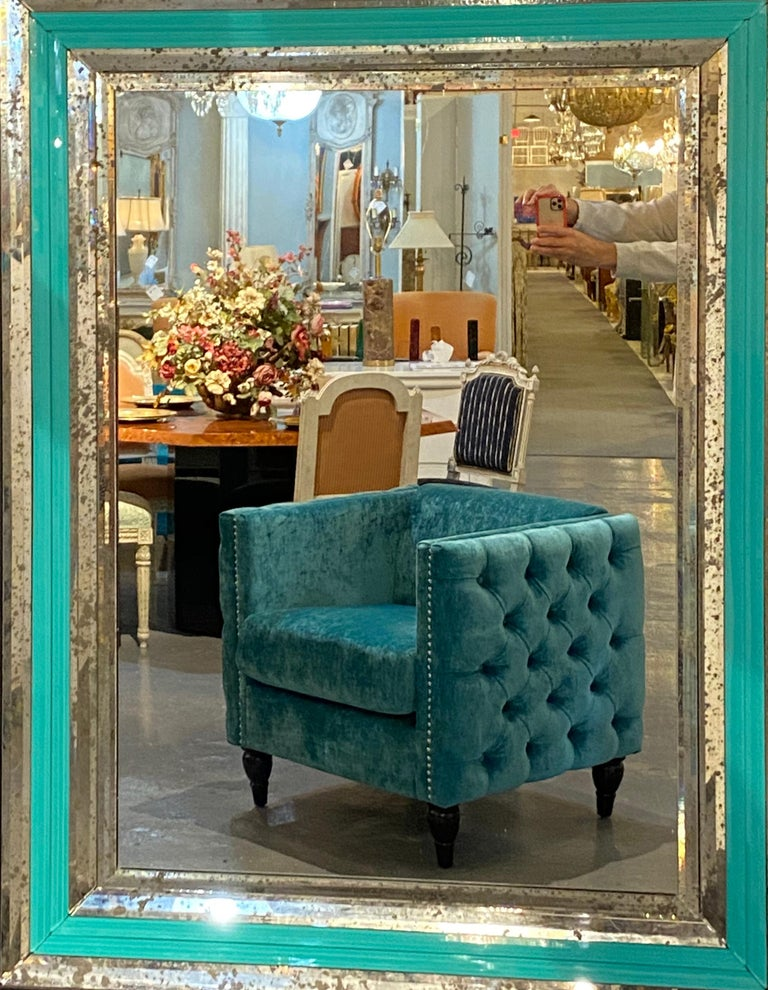 Art Deco Wall, Console or Pier Mirrors with Turquoise Beveled Frames, a Pair For Sale 9