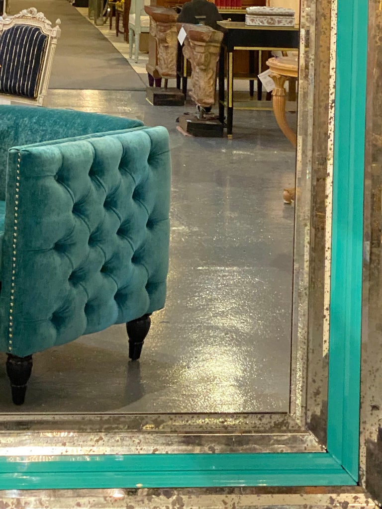 Art Deco Wall, Console or Pier Mirrors with Turquoise Beveled Frames, a Pair For Sale 12