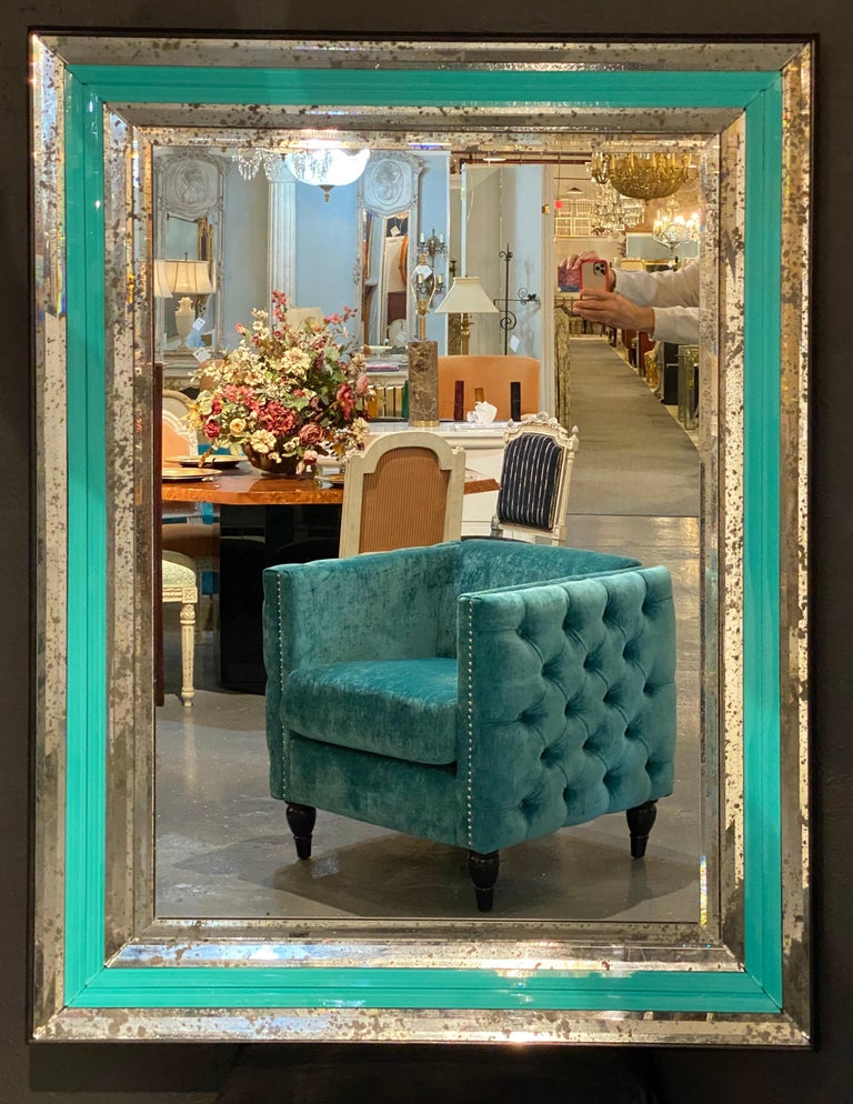 Art Deco Wall, Console or Pier Mirrors with Turquoise Beveled Frames, a Pair In Good Condition For Sale In Stamford, CT