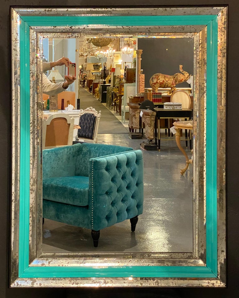 20th Century Art Deco Wall, Console or Pier Mirrors with Turquoise Beveled Frames, a Pair For Sale