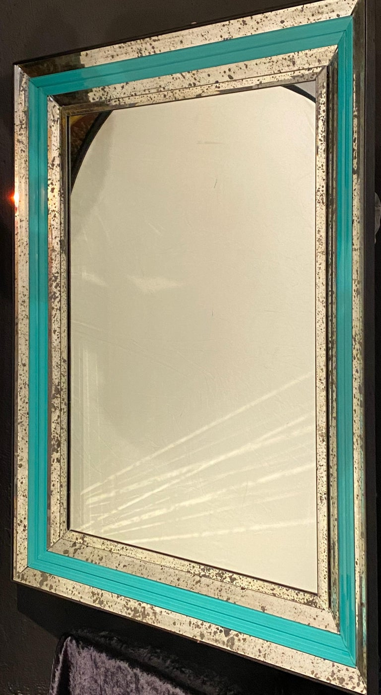 Glass Art Deco Wall, Console or Pier Mirrors with Turquoise Beveled Frames, a Pair For Sale