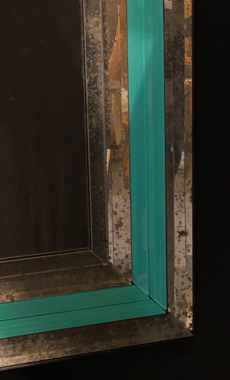 Art Deco Wall, Console or Pier Mirrors with Turquoise Beveled Frames, a Pair For Sale 1