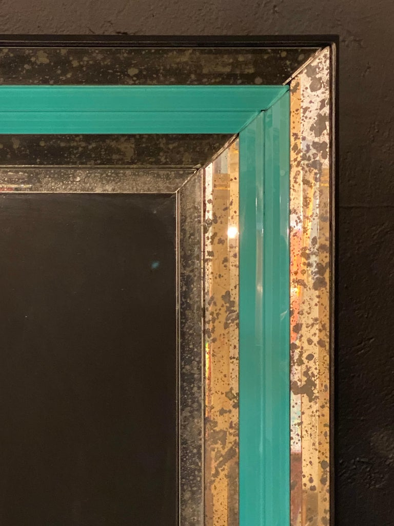 Art Deco Wall, Console or Pier Mirrors with Turquoise Beveled Frames, a Pair For Sale 2